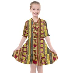 Traditional Africa Border Wallpaper Pattern Colored 4 Kids  All Frills Chiffon Dress by EDDArt