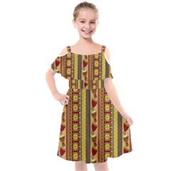 Traditional Africa Border Wallpaper Pattern Colored 4 Kids  Cut Out Shoulders Chiffon Dress by EDDArt