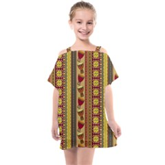 Traditional Africa Border Wallpaper Pattern Colored 4 Kids  One Piece Chiffon Dress by EDDArt