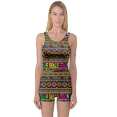Traditional Africa Border Wallpaper Pattern Colored One Piece Boyleg Swimsuit by EDDArt