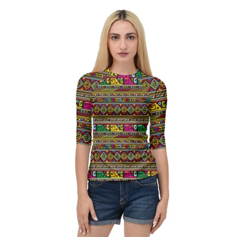 Traditional Africa Border Wallpaper Pattern Colored Quarter Sleeve Raglan Tee by EDDArt