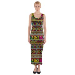 Traditional Africa Border Wallpaper Pattern Colored Fitted Maxi Dress by EDDArt
