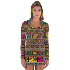 Traditional Africa Border Wallpaper Pattern Colored Long Sleeve Hooded T-shirt by EDDArt