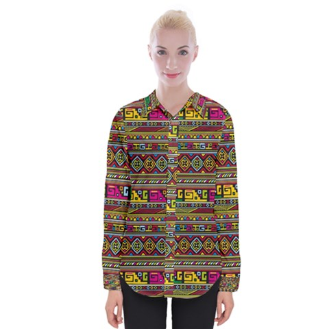 Traditional Africa Border Wallpaper Pattern Colored Womens Long Sleeve Shirt by EDDArt