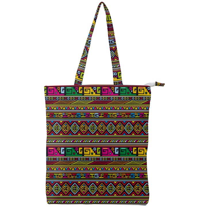 Traditional Africa Border Wallpaper Pattern Colored Double Zip Up Tote Bag