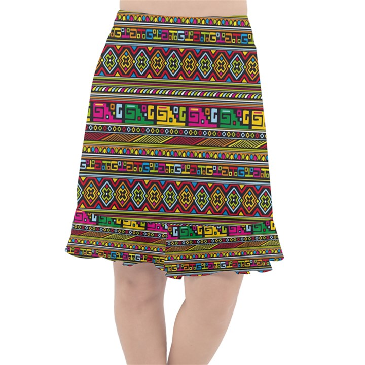 Traditional Africa Border Wallpaper Pattern Colored Fishtail Chiffon Skirt