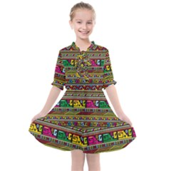 Traditional Africa Border Wallpaper Pattern Colored Kids  All Frills Chiffon Dress by EDDArt