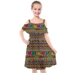 Traditional Africa Border Wallpaper Pattern Colored Kids  Cut Out Shoulders Chiffon Dress by EDDArt