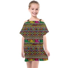 Traditional Africa Border Wallpaper Pattern Colored Kids  One Piece Chiffon Dress by EDDArt