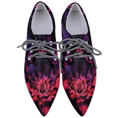 Floral Pink Fractal Painting Pointed Oxford Shoes