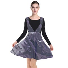 Purple Marble Digital Abstract Plunge Pinafore Dress