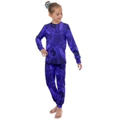 Fractal Blue Star Abstract Kids  Long Sleeve Set  by Pakrebo