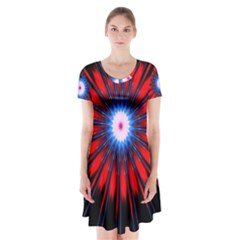 Red White Blue Burst Fractal Short Sleeve V Neck Flare Dress