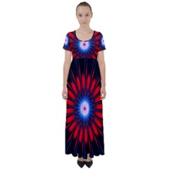 Red White Blue Burst Fractal High Waist Short Sleeve Maxi Dress by Pakrebo