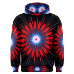 Red White Blue Burst Fractal Men s Overhead Hoodie