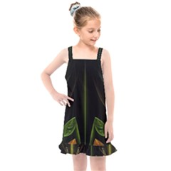 Fractal Texture Pattern Flame Kids  Overall Dress