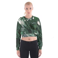 Green Marble Digital Abstract Cropped Sweatshirt