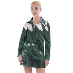 Green Marble Digital Abstract Women s Long Sleeve Casual Dress