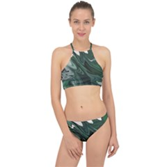 Green Marble Digital Abstract Racer Front Bikini Set