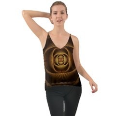 Fractal Copper Amber Abstract Chiffon Cami