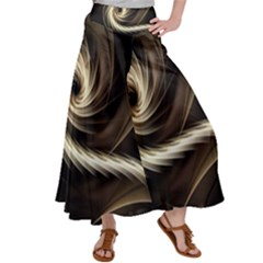Fractal Background Pattern Curve Satin Palazzo Pants by Pakrebo