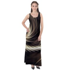 Fractal Background Pattern Curve Sleeveless Velour Maxi Dress