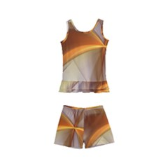 Abstract Gold White Background Kids  Boyleg Swimsuit by Pakrebo