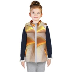 Abstract Gold White Background Kids  Hooded Puffer Vest by Pakrebo