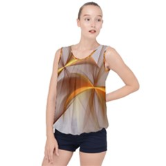 Abstract Gold White Background Bubble Hem Chiffon Tank Top