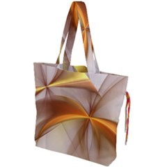 Abstract Gold White Background Drawstring Tote Bag