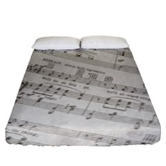Sheet Music Paper Notes Antique Fitted Sheet (queen Size) by Pakrebo