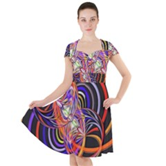 Multicolor Multi Color Circles Cap Sleeve Midi Dress