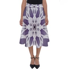 Fractal Floral Pattern Decorative Perfect Length Midi Skirt