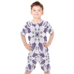 Fractal Floral Pattern Decorative Kids  Tee And Shorts Set by Pakrebo