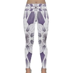 Fractal Floral Pattern Decorative Lightweight Velour Classic Yoga Leggings