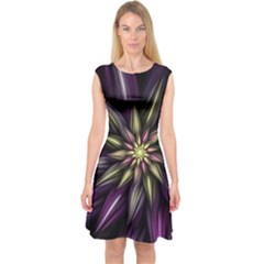 Fractal Flower Floral Abstract Capsleeve Midi Dress