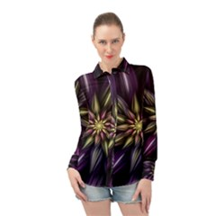 Fractal Flower Floral Abstract Long Sleeve Chiffon Shirt