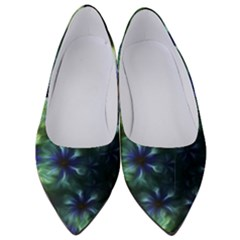 Fractal Painting Blue Floral Women s Low Heels