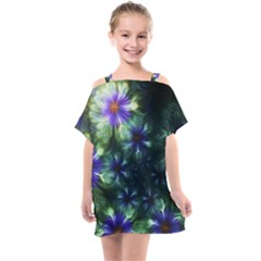 Fractal Painting Blue Floral Kids  One Piece Chiffon Dress by Pakrebo