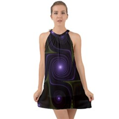 Fractal Colors Pattern Abstract Halter Tie Back Chiffon Dress