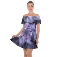 Fractal Flower Lavender Art Off Shoulder Velour Dress