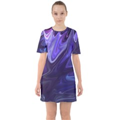 Deep Space Stars Blue Purple Sixties Short Sleeve Mini Dress