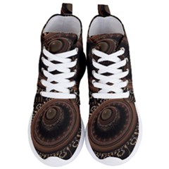 Fractal Stripes Abstract Pattern Women s Lightweight High Top Sneakers