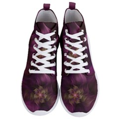 Fractal Pink Lavender Flower Bloom Men s Lightweight High Top Sneakers by Pakrebo