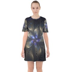 Fractal Blue Abstract Fractal Art Sixties Short Sleeve Mini Dress