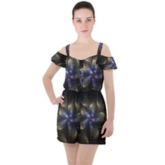 Fractal Blue Abstract Fractal Art Ruffle Cut Out Chiffon Playsuit