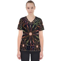 Fractal Colorful Pattern Texture Women s V Neck Scrub Top