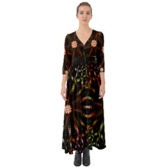 Fractal Colorful Pattern Texture Button Up Boho Maxi Dress