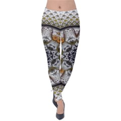 Medallion Fractal Digital Art Velvet Leggings by Pakrebo