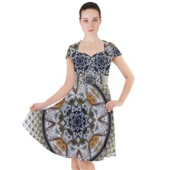 Medallion Fractal Digital Art Cap Sleeve Midi Dress